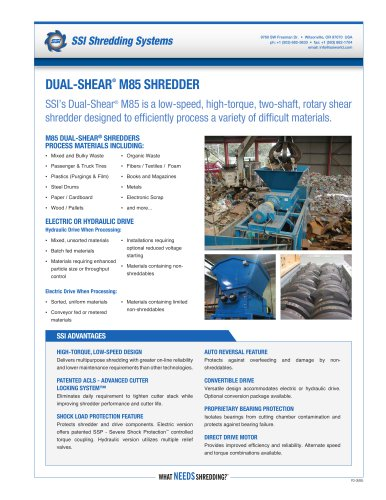 Dual-Shear® M85 Two-Shaft Shredder
