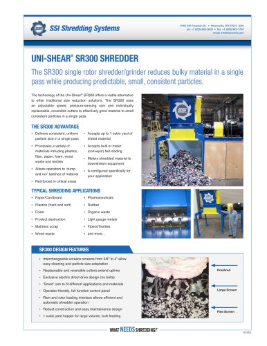 Uni-Shear® SR300 Single Rotor Shredder