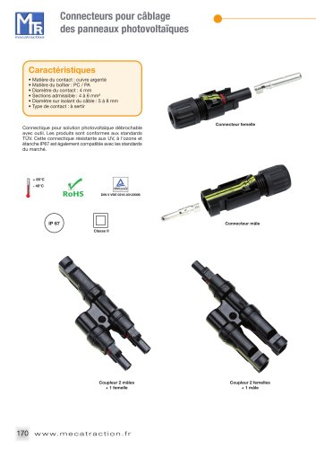 Connecteurs pour liaisons équipotentielles et câblage des panneaux photovoltaïques