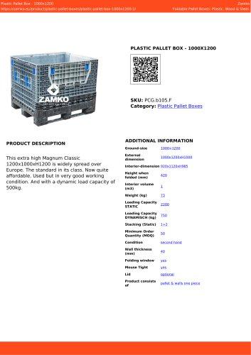PLASTIC PALLET BOX - 1000X1200