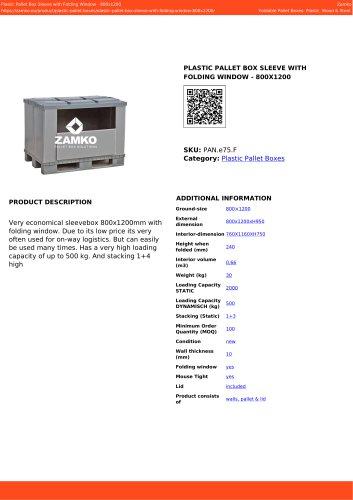 PLASTIC PALLET BOX SLEEVE WITH FOLDING WINDOW - 800X1200 PAN e75 F
