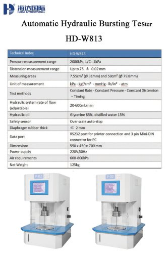 Automatic Hydraulic Bursting Tester