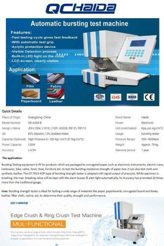 Automatic Paper Bursting Strength Testing Equipment