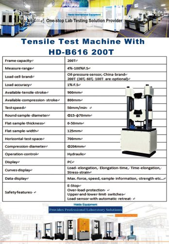 Tensile Test Machine With HD-B616 200T