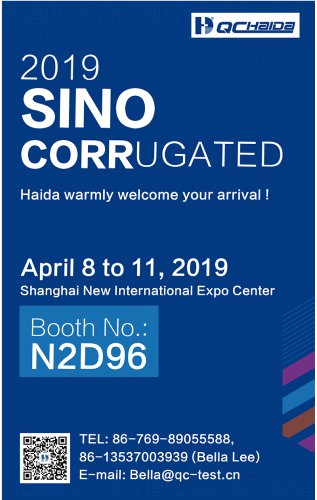 Warmly welcome to our 2019 Sino Corrugated Exhibition in Shanghai