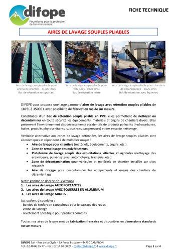 Aires de lavage ou zones de décontamination - Bac de rétention DIFOPE