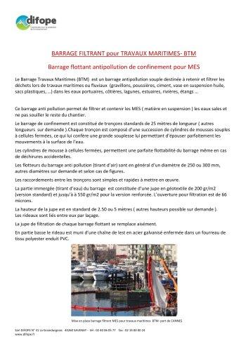Barrage antipollution pour travaux maritimes