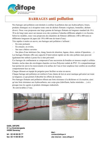 Barrages flottants anti pollution