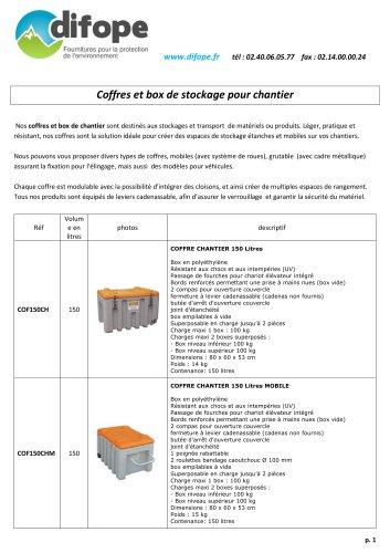 Coffres de stockage pour chantiers