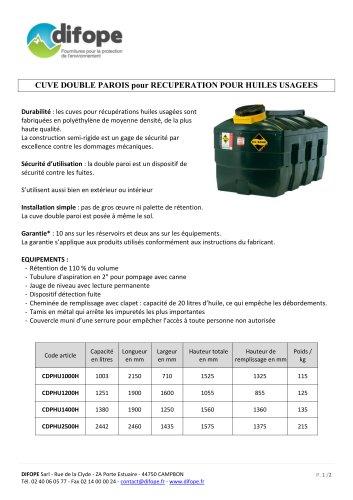 Cuves Réservoirs pour huiles usagées - DIFOPE