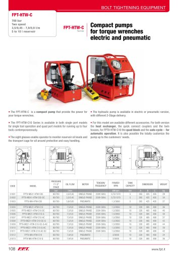 FPT-HTW-C Series Compact pumps for torque wrenches electric and pneumatic