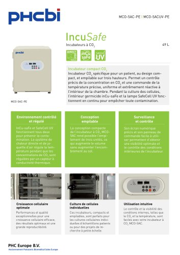MCO-5AC-PE Incubateurs à CO2