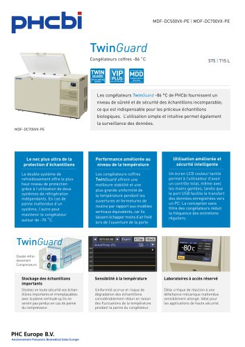 MDF-DC500/700VX-PE Congélateurs coffres -86 ˚C