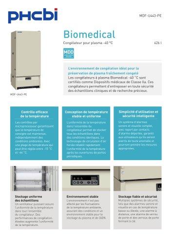 MDF-U443-PE Congélateur pour plasma -40 °C