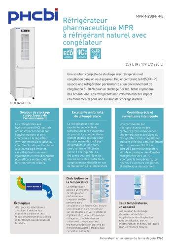 MPR-N250FH-PE Réfrigérateur pharmaceutique MPR à réfrigérant naturel avec congélateur