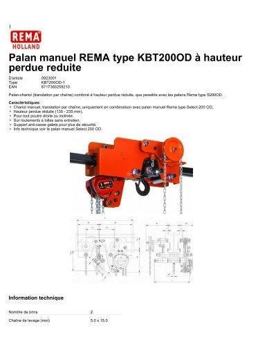 Palan manuel REMA type KBT200OD à hauteur perdue reduite