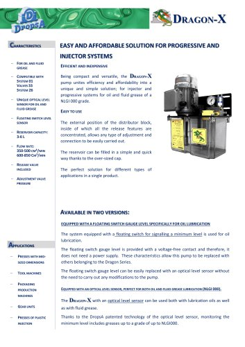 EASY AND AFFORDABLE SOLUTION FOR INJECTORS AND PROGRESSIVE SYSTEMS