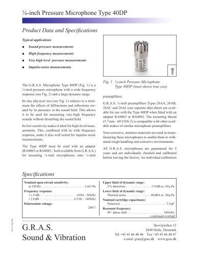 ⅛-inch Pressure Microphone Type 40DP