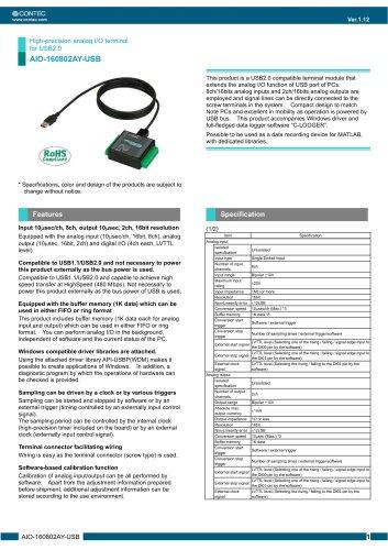 High-precision analog I/O terminal for USB2.0 AIO-160802AY-USB