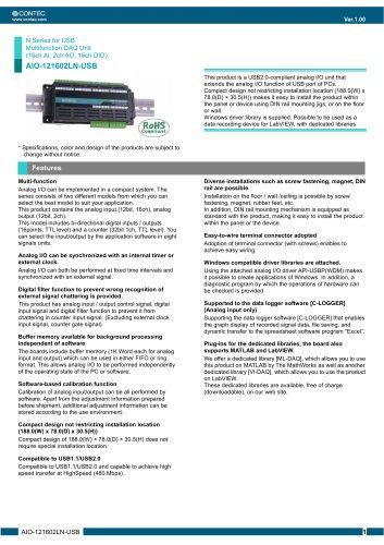 USB Multifunction DAQ Unit (16ch AI, 2ch AO, 16ch DIO) AIO-121602LN-USB