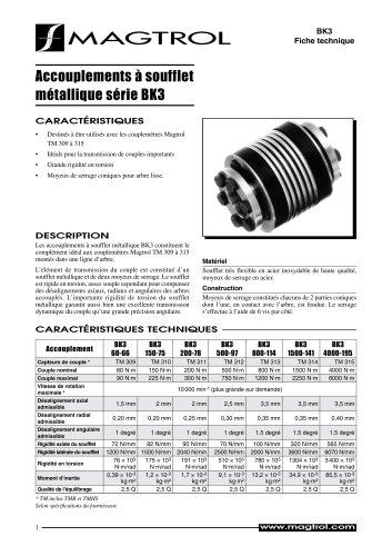 Accouplements à soufflet métallique série BK3