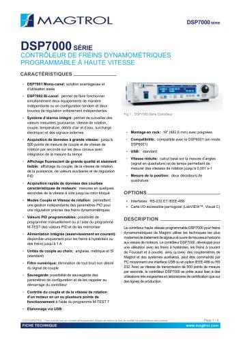 DSP 7000 | Contrôleur de freins dynamométriques à haute vitesse programmable