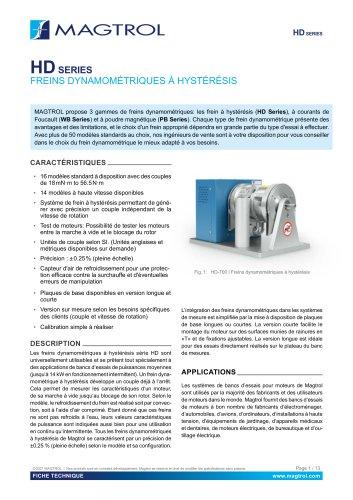 HD Série   Freins dynamométriques à hystérésis