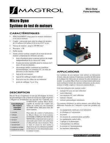 Micro Dyne Système de test de moteurs