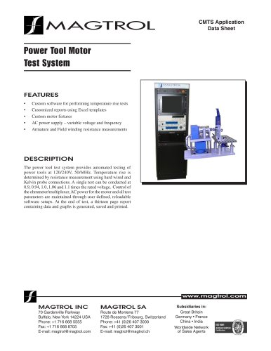 Power Tool Motor Test System