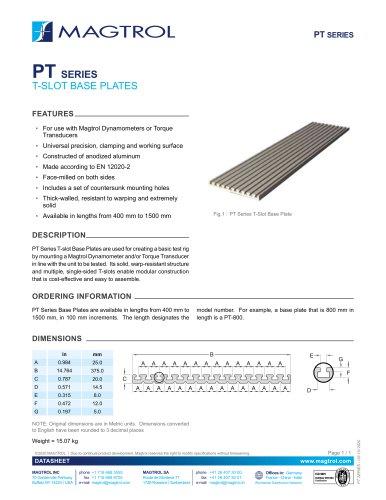 PT Series T-slot Base Plates