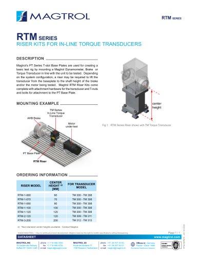 RTM Series   Riser Kits for In-line Torque Sensors