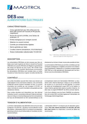 DES Série | Alimentations pour frein dynamométrique WB & PB