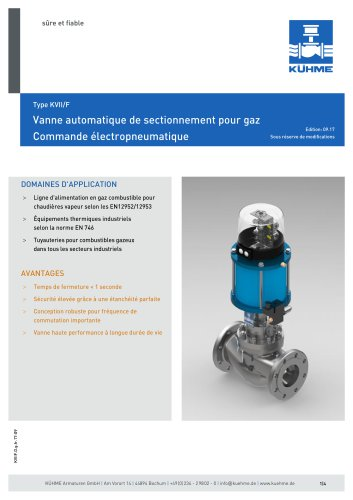 Schnellschlussventil für gasförmige Medien - Typ KVII/F (DIN)