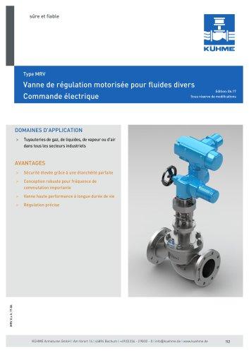 Vanne de régulation motorisée pour fluides divers - Type MRV