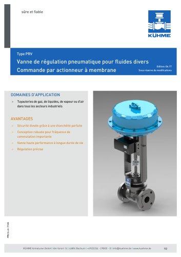 Vanne de régulation pneumatique pour fluides divers - Type PRV