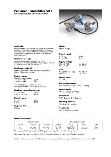 Pressure Transmitter 981 for Liquids