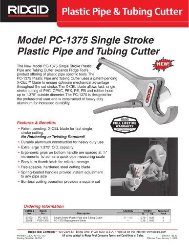 MODEL PC-1375 PLASTIC PIPE & TUBING CUTTER