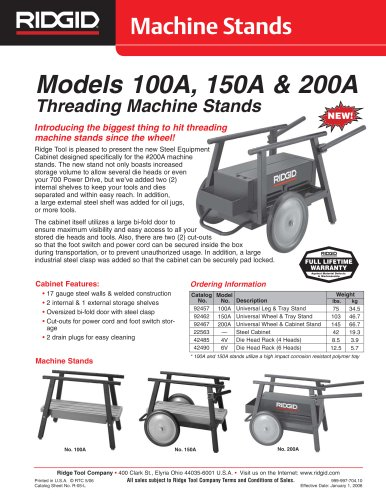 MODELS 100A, 150A & 200A THREADING MACHINE STANDS