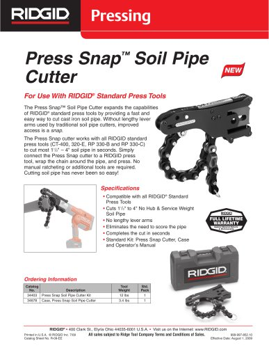 Press Snap ™ Soil Pipe Cutter