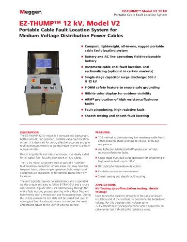 HIGHLY PORTABLE FAULT LOCATION SYSTEM FOR MV NETWORKS   EZ-THUMP 12 kV, model V2