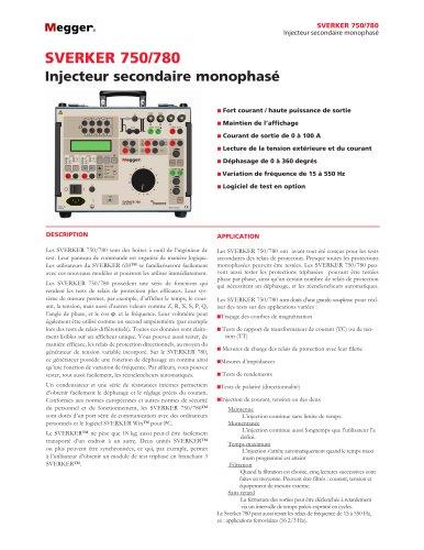 SYSTÈME DE TEST DE RELAIS MONOPHASÉ   SVERKER750/780
