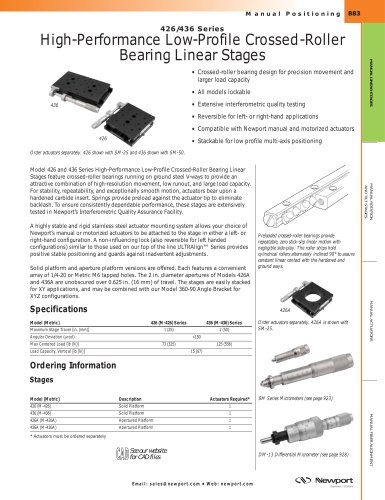 426/436 Series High-Performance Low-Profile Crossed-Roller Bearing Linear Stages