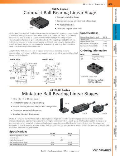 450A Series Compact Ball Bearing Linear Stage
