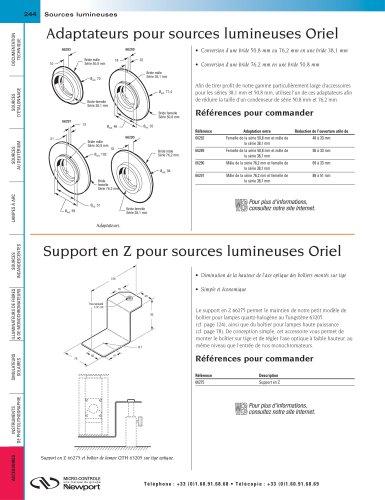 Adaptateurs pour sources lumineuses Oriel