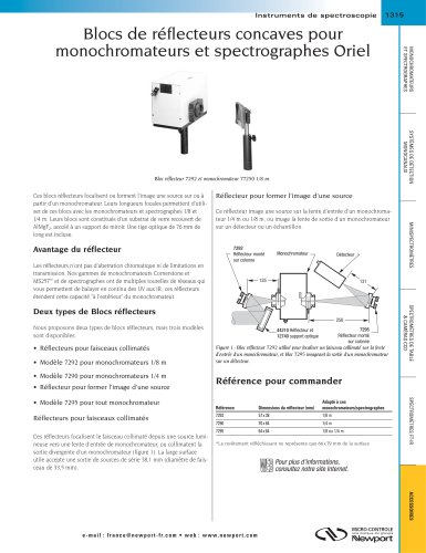 Blocs de réflecteurs concaves pour monochromateurs et spectrographes Oriel