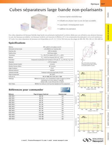 Cubes séparateurs large bande non-polarisants