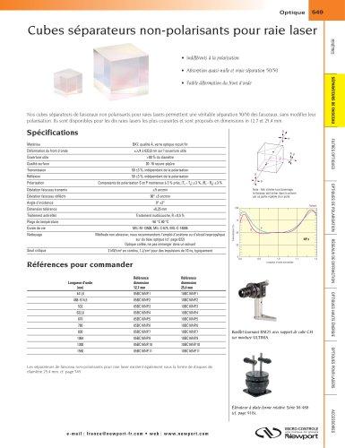 Cubes séparateurs non-polarisants pour raie laser