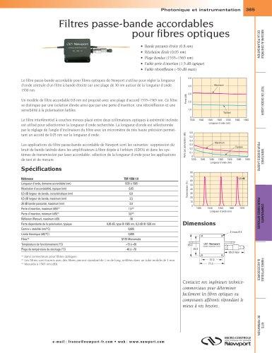 Filtres passe-bande accordables pour fibres optiques