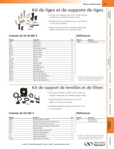 Kit de tiges et de supports de tiges, Kit de support de lentilles et de filtres