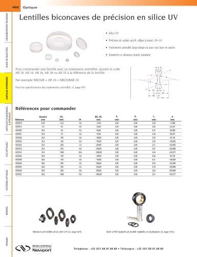 Lentilles biconcaves de précision en silice UV
